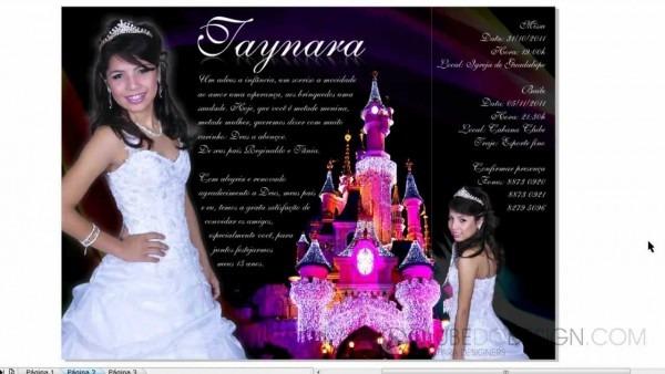 Criando um convite de 15 anos de princesa lilás com coreldraw e