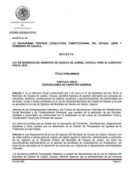 Ley de ingresos del municipio de oaxaca de juárez 2018 by padiox