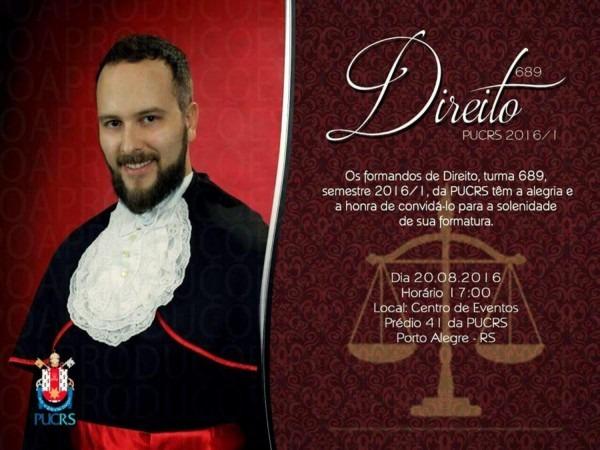 Convite para formatura de direito pucrs 2016 01 by guilherme