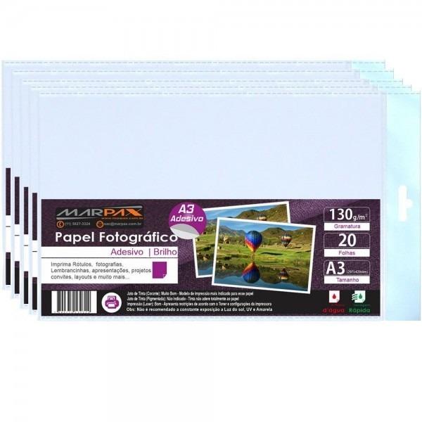 Papel fotográfico brilhante adesivo a3 130g 500 folhas