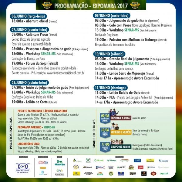 Sindicato rural de maracaju divulga a programação oficial do