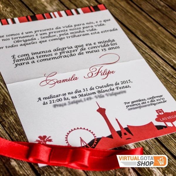 03 convites 15 anos preto vermelho rolo de filme las vegas