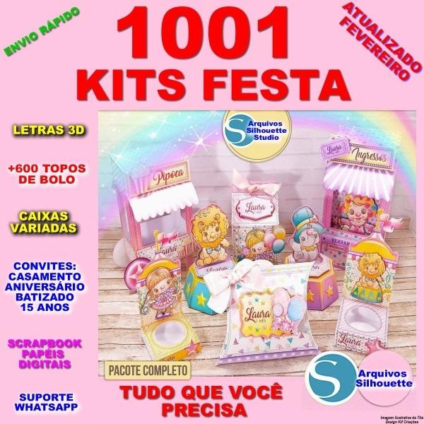 1001 kit festas +600 topo de bolo caixas convites silhouette