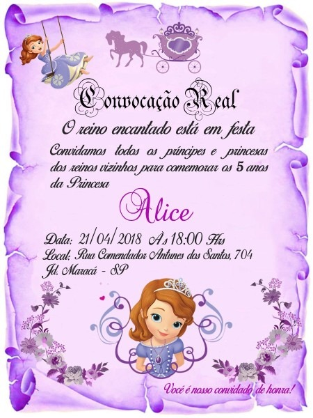 100 convite pergaminho lilás princesa sofia 10x15 cm