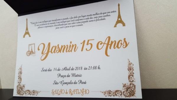 100 convites preto de 15 anos paris, casamento