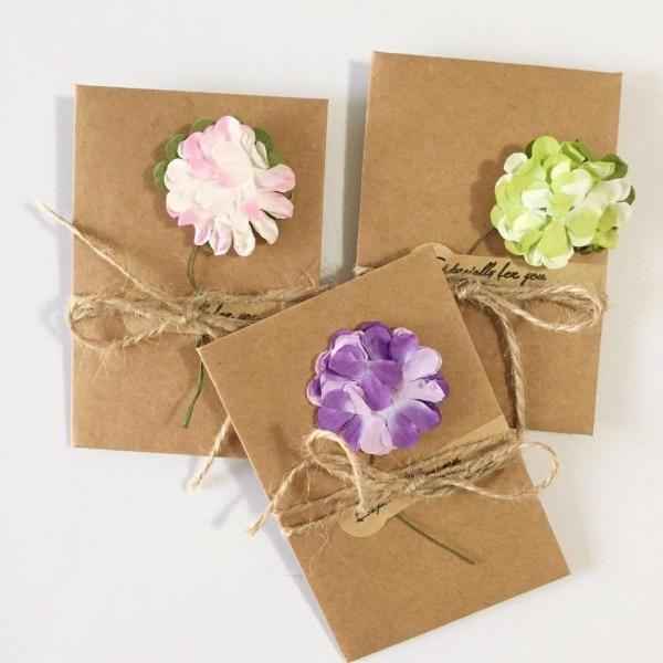 Compre diy kraft papel handmade flor seca convite cartão com