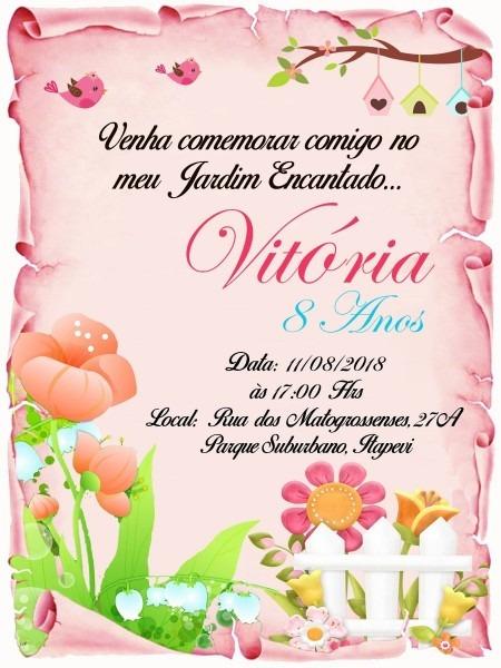 120 convite pergaminho jardim encantado