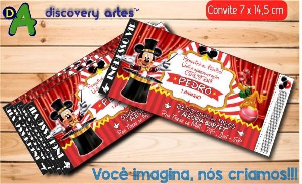 18 convites ingresso circo do mickey