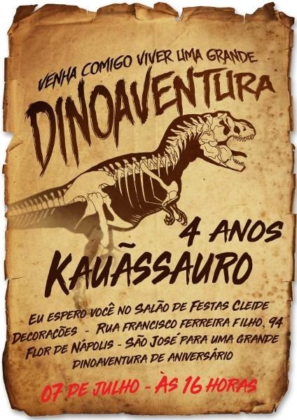 20 convite pergaminho dinossauro