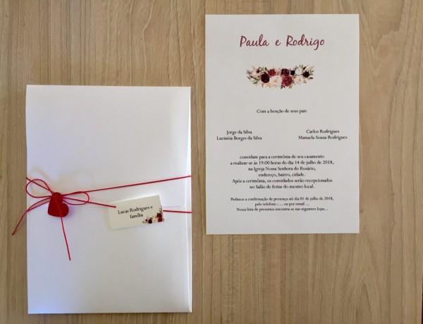 Convite de casamento envelope vertical