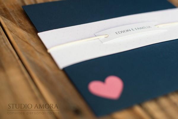 Convite de casamento blue love! delicado e romântico  tamanho  19