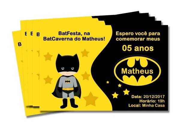 30 convite de aniversário batman 7x10 cm