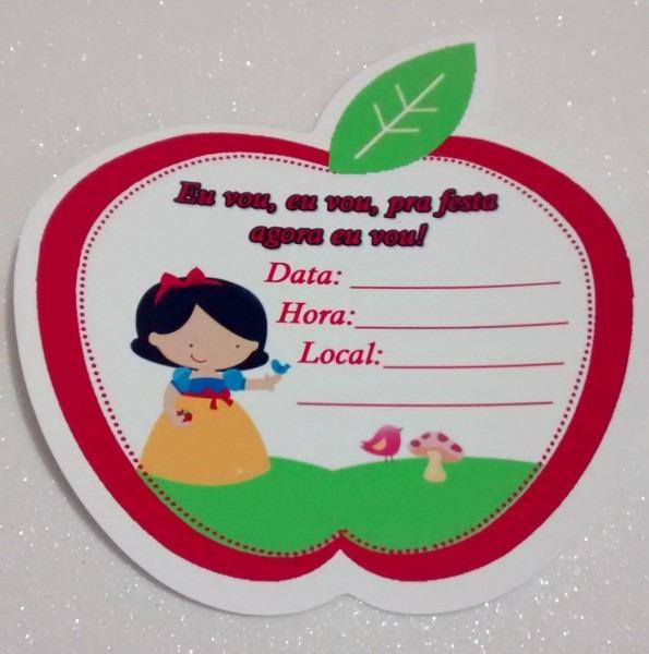 30 convite de aniversário branca de neve cute na maçã