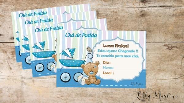 Convites chá fralda ursinho menino no elo7
