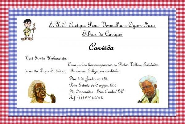Convite  festa aos pretos velhos
