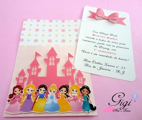 Convite de princesas da disney