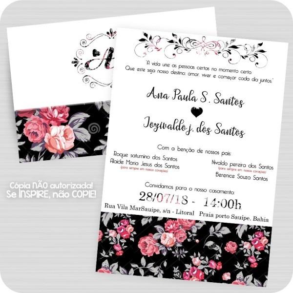 50 convite casamento floral preto rosa vintage 15 anos