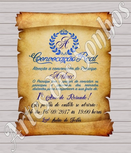 50 convite pergaminho príncipe