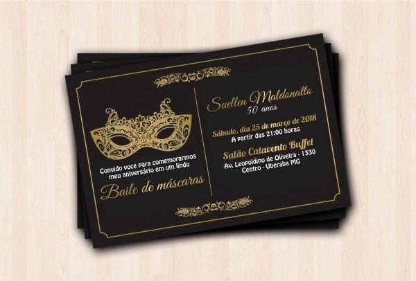 50 convites personalizados baile de mascaras