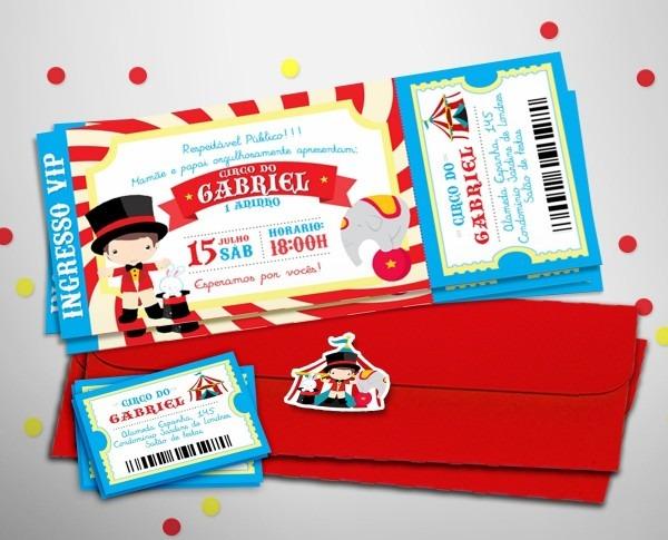 50 convites personalizados ingresso circo + 120 indiv