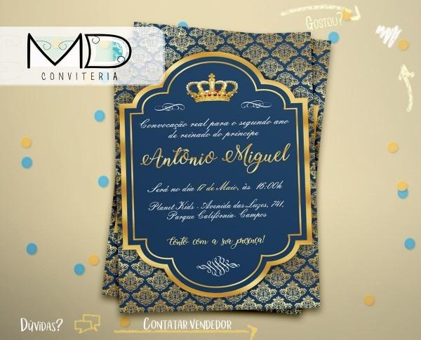 50 convites realeza menino príncipe rei s  env + frete