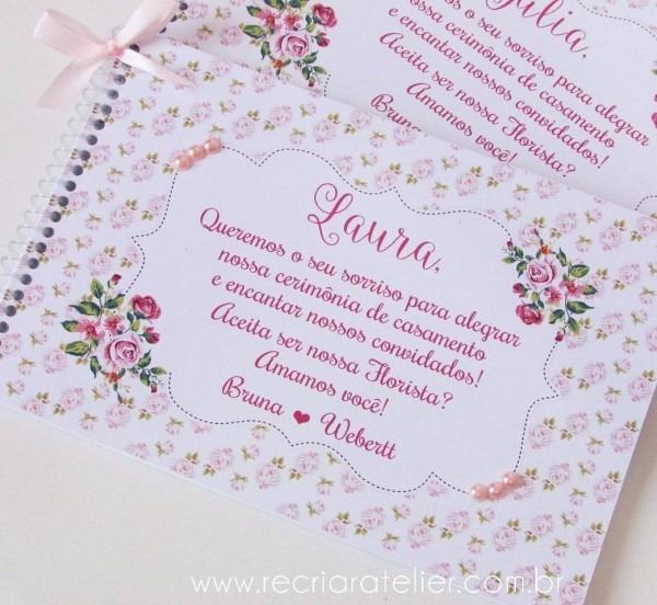 Convite para floristas 🌼 caderno de desenho com capa