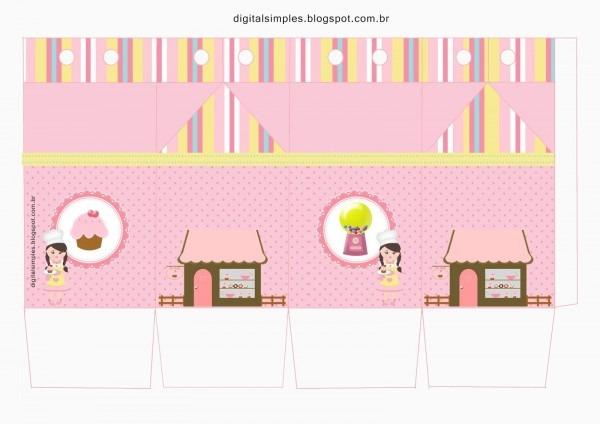 Kit de artes digitais para imprimir com o tema confeitaria rosa