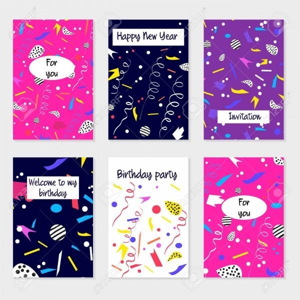 Conjunto de cartões de festa e convites  design para cartaz