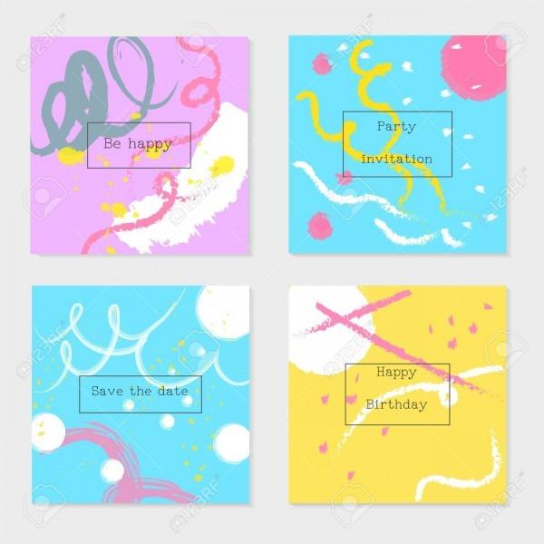 Conjunto de cartões e convites universais, estilo moderno abstrato
