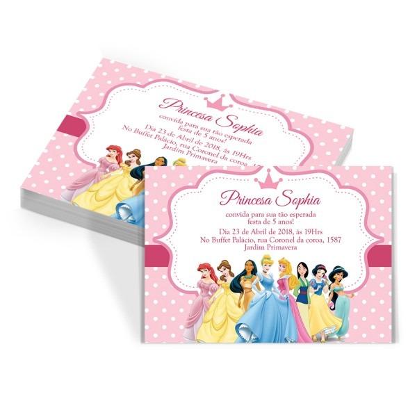70 convites aniversário infantil princesas disney + brinde no elo7