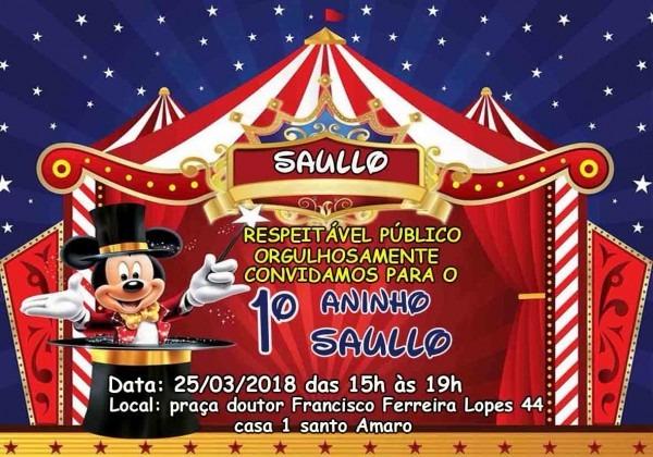 70 convites circo do mickey infantil personalizado 7x10
