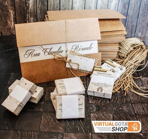 70 convites de casamento rústico reciclado envelope em kraft