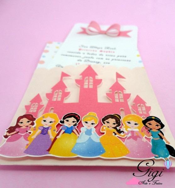 Convite vertical no tema princesas da disney, com dizeres