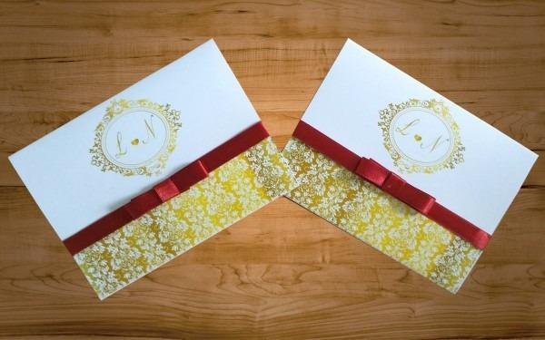 80 unid convite de casamento + fita de cetim e laço chanel