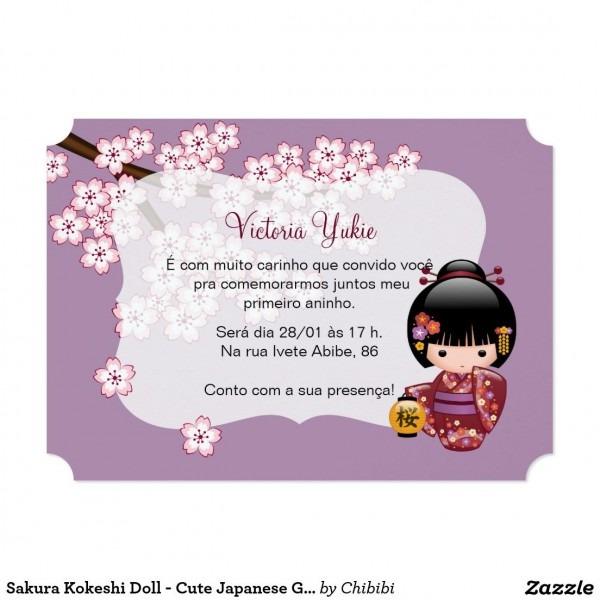 Convite festa de aniversário bonito da gueixa da boneca de