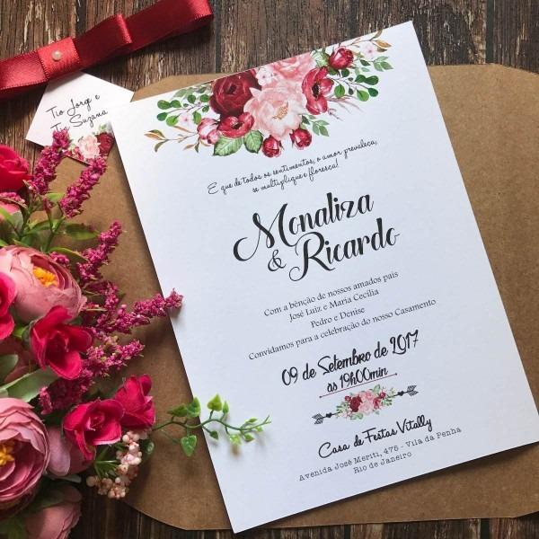 90 convites de casamento rústico marsala + 150 individuais