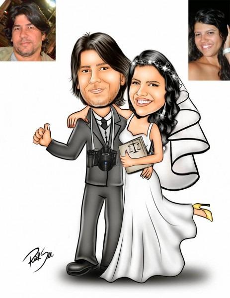Desenho de casal de noivos para convite de casamento !!! o noivo é