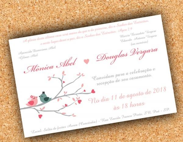 Arte convite casamento passarinhos no elo7