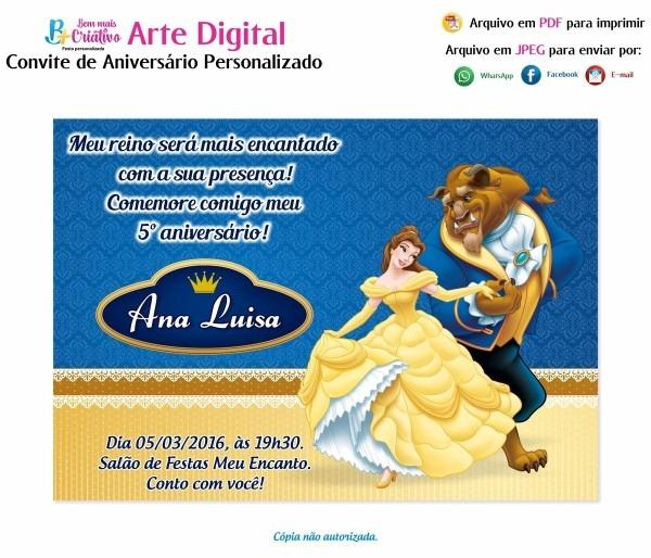 Arte digital convite aniversário a bela e a fera