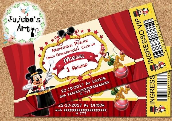 Arte digital convite circo do mickey no elo7