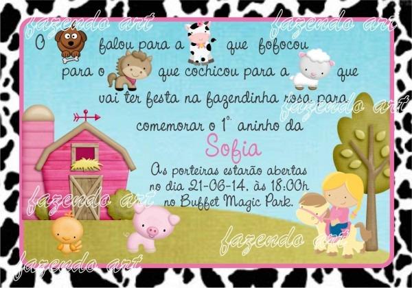 Arte digital convite fazendinha rosa no elo7