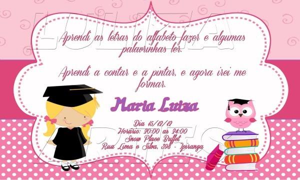 Arte digital convite formatura infantil no elo7