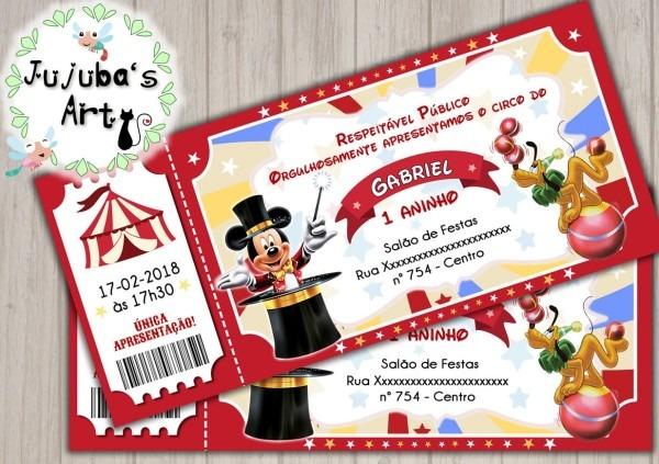 Arte digital convite ingresso circo do mickey  mod2