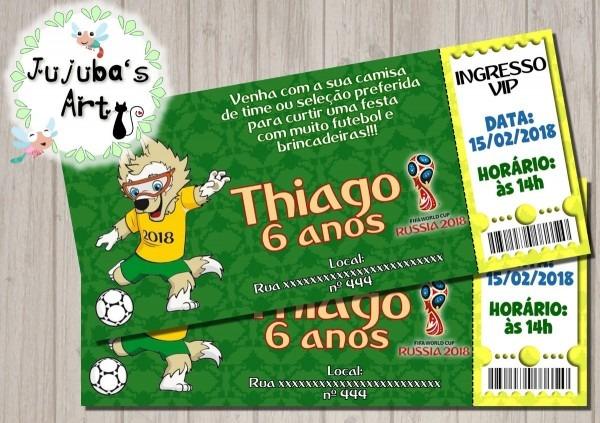 Arte digital convite ingresso copa do mundo brasil futebol