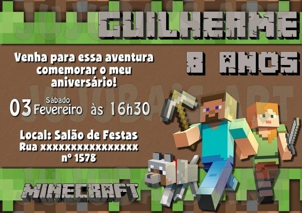 Arte digital convite minecraft no elo7