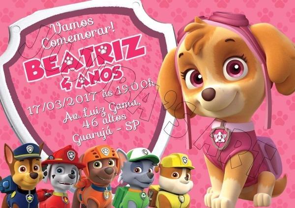 Arte digital convite patrulha canina skye menina  mod4