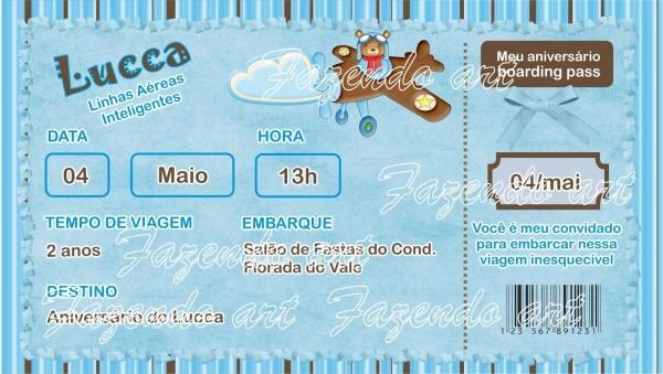 Arte digital convite urso aviador no elo7