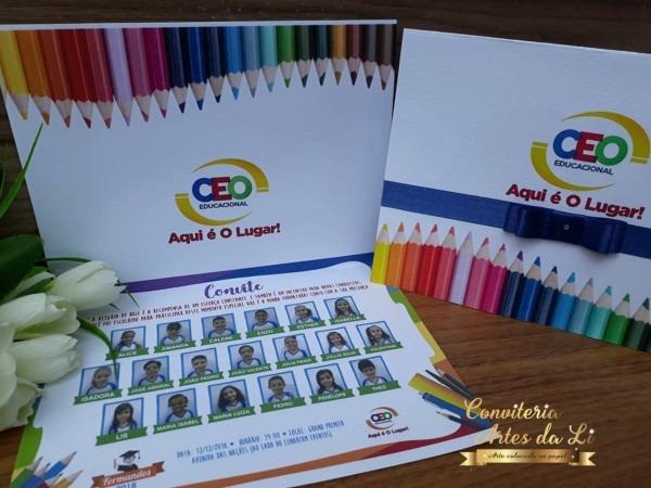 Convite formatura infantil com foto abc  no elo7