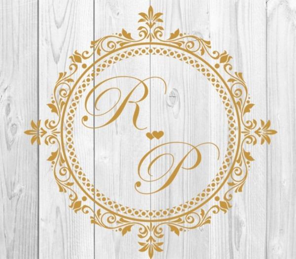 Brasão digital com iniciais dos noivos convites de casamento no