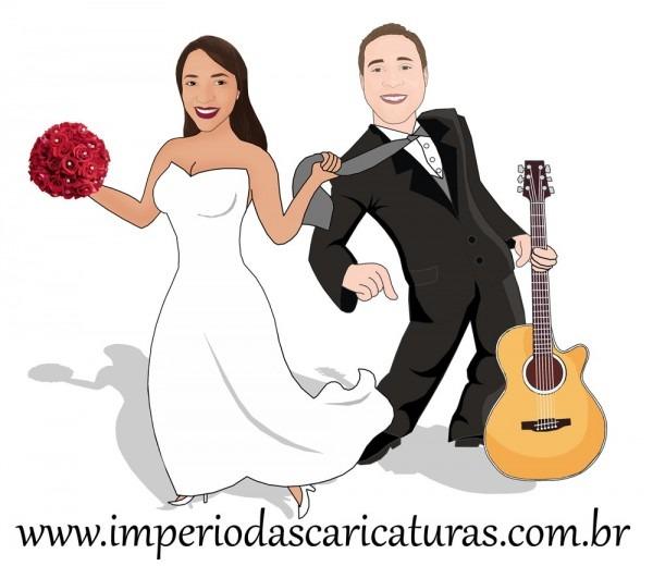 Caricatura casamento com violão no elo7